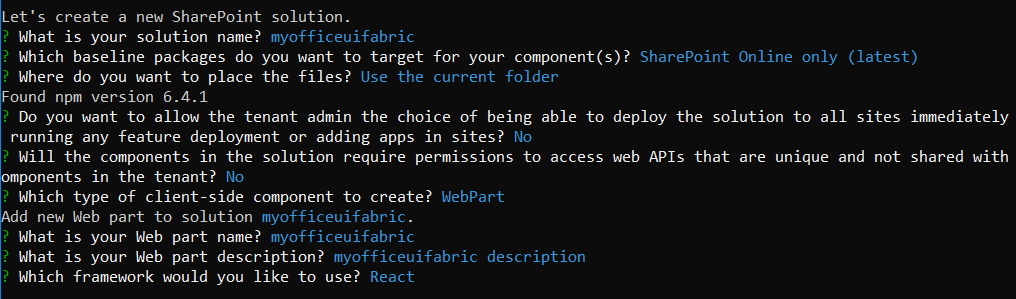 SharePoint framework webpart with Office UI Fabric React component